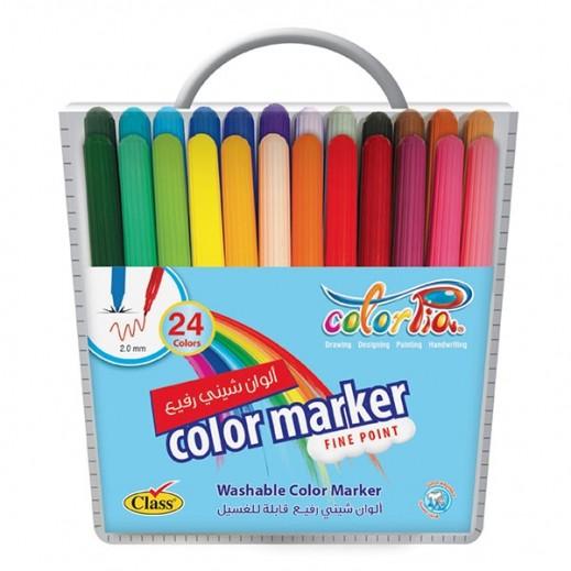 كلاس – كلربيا طقم أقلام تلوين لامعة قابلة للغسيل - 24 قلم
