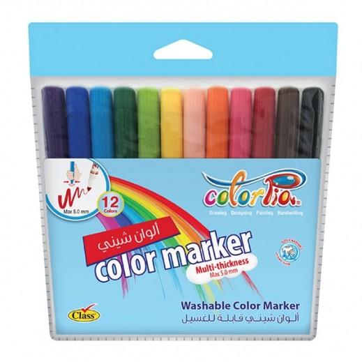 كلاس – كلربيا طقم أقلام تلوين لامعة قابلة للغسيل - 12 لون