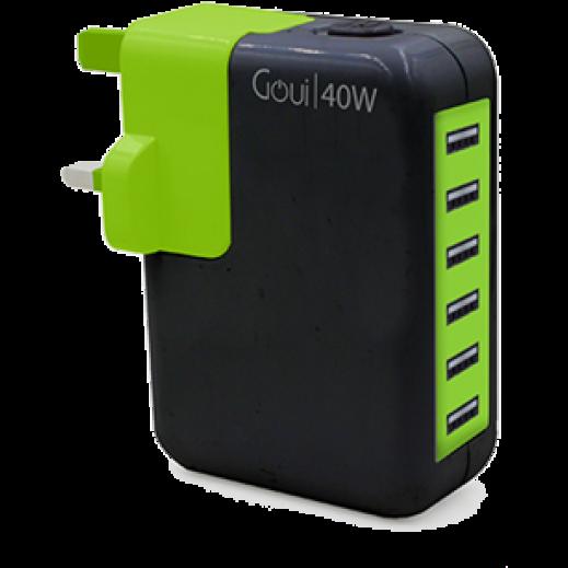 شاحن GOUI GO مع 6 منافذ شحن USB اسود