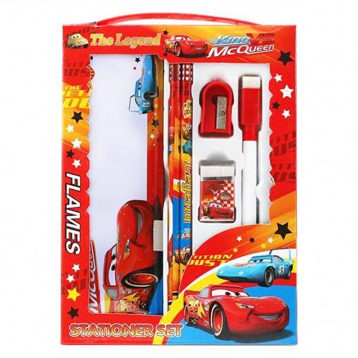 طقم أدوات مدرسية بتصميم السيارات – أحمر