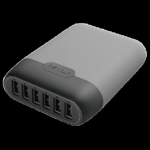ميلي - منصة شحن × 6 منافذ USB – رمادي
