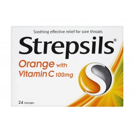 ستربسلز – أقراص مطهرة للحنجرة بالبرتقال مع فيتامين سي – 24  قرص