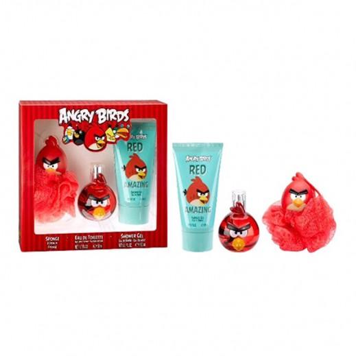 أنجري بيردس – طقم كولونيا للأطفال 50 مل - أحمر + سبونج 3D + جل استحمام 150 مل