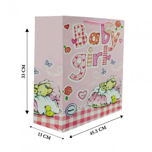 حقيبة هدايا أعياد ميلاد زهري - 33 × 45.5 × 13 سم