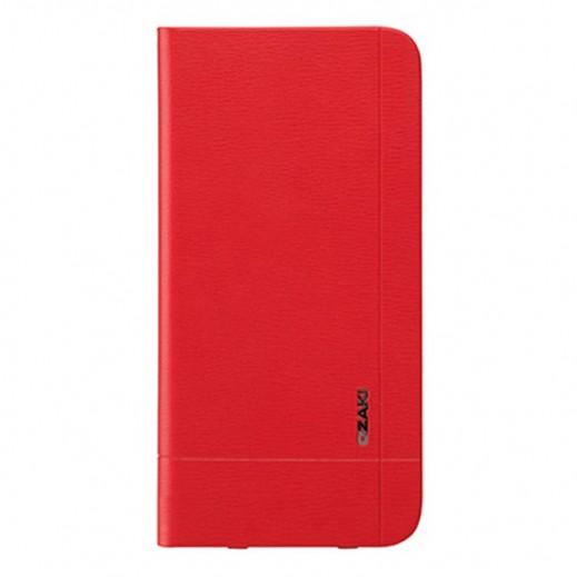 غطاء ملف جلد OZAKI O!COAT 0.4 مع 2 جيب لايفون 6 بلاس - لون احمر