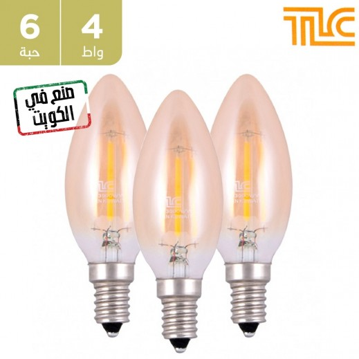 تي إل سي – مصباح إضاءة LED فلامنت ذهبي E14 C35 بقوة 4 واط – أبيض دافئ – 6 حبة