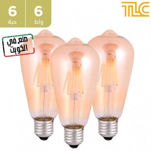 تي إل سي – مصباح إضاءة LED فلامنت ذهبي E27 ST64 بقوة 6 واط – 6 حبة