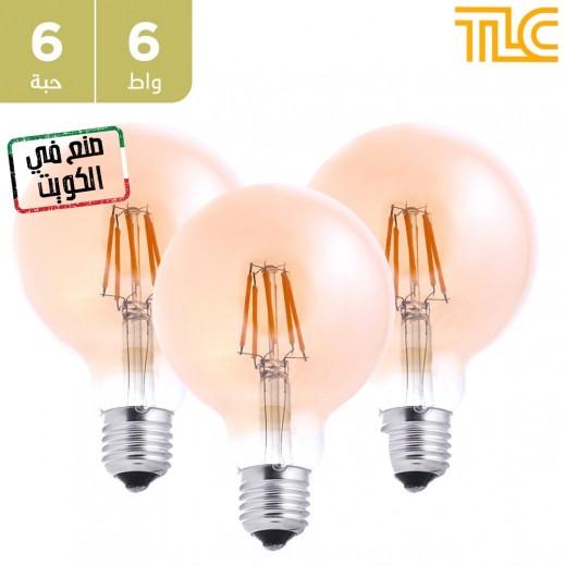 تي إل سي – مصباح إضاءة LED فلامنت ذهبي E27 G95 بقوة 6 واط – 6 حبة