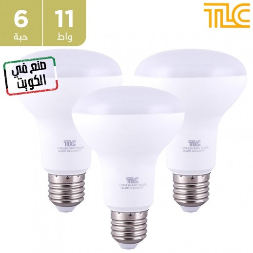 تي إل سي – مصباح إضاءة LED E27 R80 بقوة 11 واط – اصفر - 6 حبة