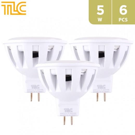 تي إل سي – مصباح إضاءة سبوت  LED MR16 صغير بقوة 5 واط – ابيض - 6 حبة