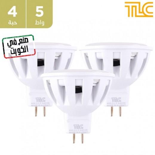 تي إل سي – مصباح إضاءة سبوت  LED MR16 صغير بقوة 5 واط – ابيض - 4 حبة