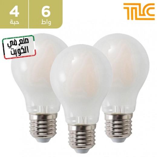 تي إل سي – مصباح إضاءة LED فلامنت E27 A60 بقوة 6 واط – أبيض - 4 حبة