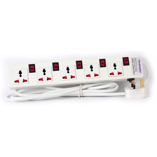 ترمونيتر – وصلة اشتراك كهربائية 5 مقابس بطول 3 متر 13 امبير - ابيض