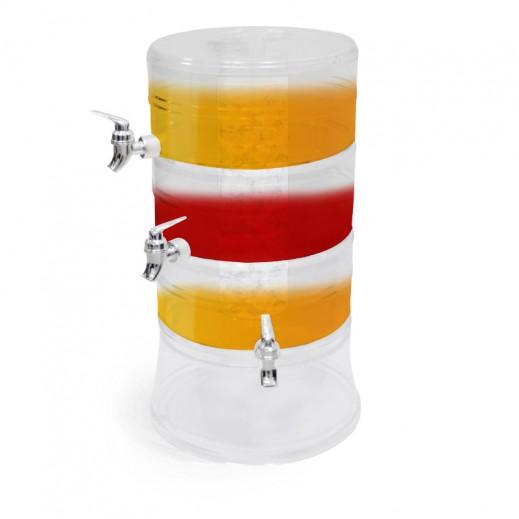 أكريليك - موزع العصير 3 حلقات 9 لتر – شفاف