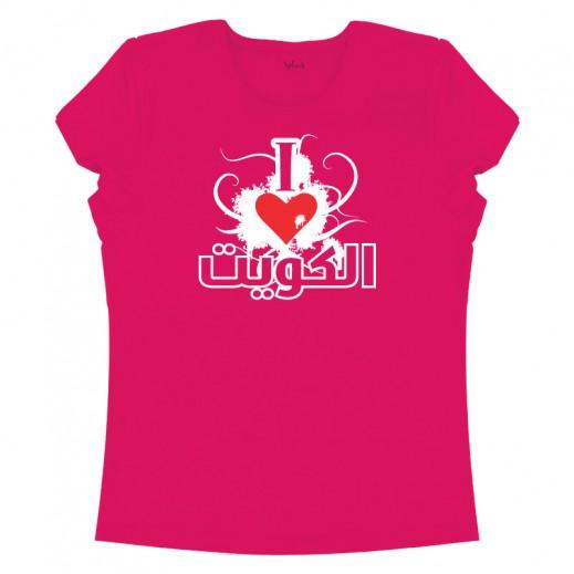 """تى شيرت """" أحب الكويت """" للسيدات – مقاس ( XXL ) وردي"""