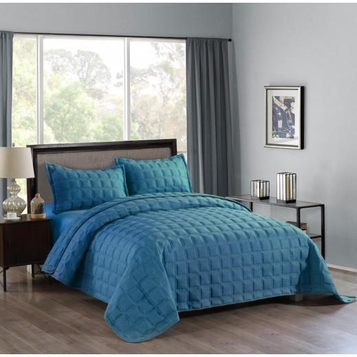 فالانتيني - غطاء سرير تركواز 4 قطع 260×230 سم - يتم التوصيل بواسطة SFC