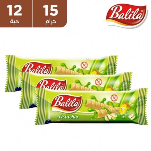 باليلا - أصابع الذرة المنتفخة محشوة بكريمة بنكهة الفستق 12 × 15 جم