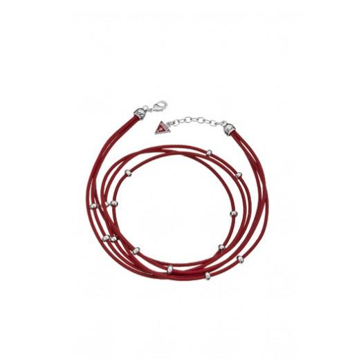 جِس – سوار نسائي جلدي بلون أحمر وفضي - يتم التوصيل بواسطة Beidoun