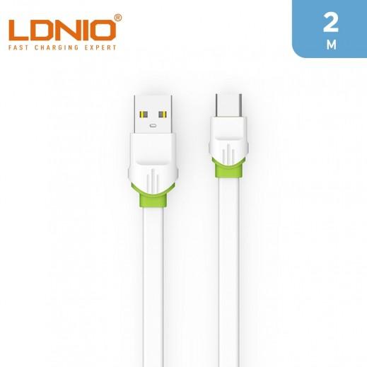 لدنيو - كيبل Type-C الى USB-A بطول 2 متر 2.4 امبير - ابيض