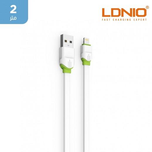 لدنيو –  كيبل USB-A الى Lightning بطول 2 متر 2.4 امبير – أبيض