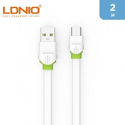 لدنيو – كيبل USB-A الى Type-C بطول  2 متر 2.4 امبير – أبيض