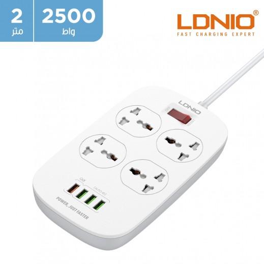 لدنيو – وصلة اشتراك كهربائي 4 مخارج بطول 2 متر مع 4 منافذ USB – أبيض