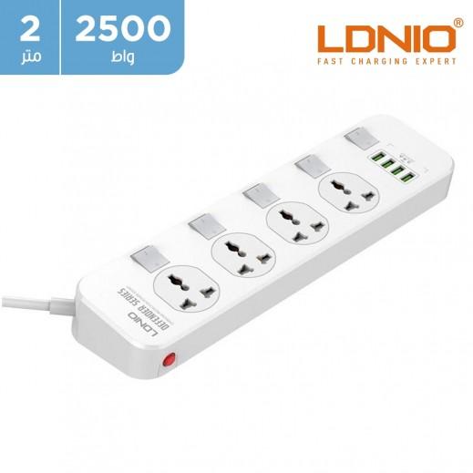 لدنيو – اشتراك كهربائي 4 مخارج بطول 2 متر مع 4 منافذ USB – مستطيل الشكل
