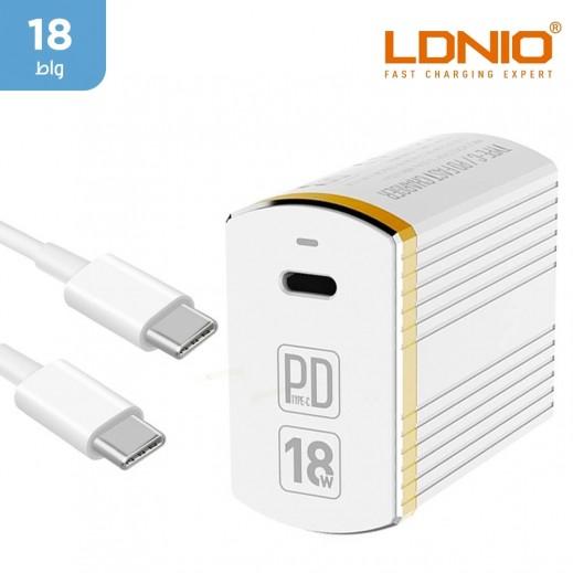 لدنيو – شاحن حائط  18 واط + كيبل USB-C الى USB-C – أبيض