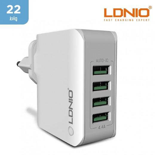 لدنيو – شاحن حائط  4 منافذ USB بقوة 4.4 امبير UK – أبيض