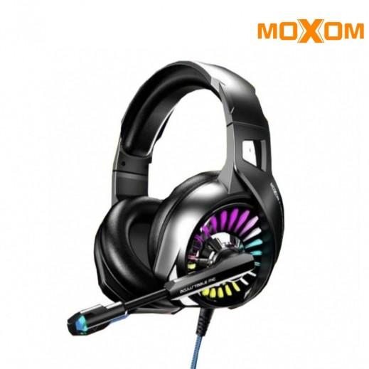 موكسوم - سماعة الألعاب السلكية ثلاثية الأبعاد ديب باس مع ميكروفون - أسود
