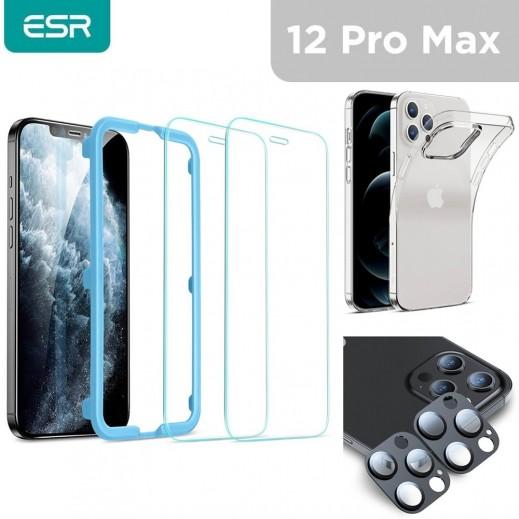 اي اس ار – حماية شاشة + حماية لعدسة الكاميرا + غطاء حماية لهاتف ايفون 12  برو ماكس