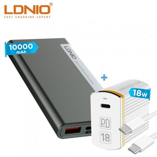 لدنيو – شاحن حائط  18 واط + كيبل USB-C الى USB-C – أبيض + بطارية إحتياطية سعة 10000 مل أمبير ثنائي USB – أسود