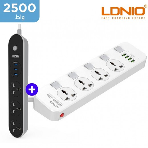 لدنيو – وصلة اشتراك كهربائي  3 مخارج بطول 1.6 متر مع 3 منافذ USB – أسود + وصلة اشتراك كهربائي 4 مخارج بطول 2 متر مع 4 منافذ USB – أبيض