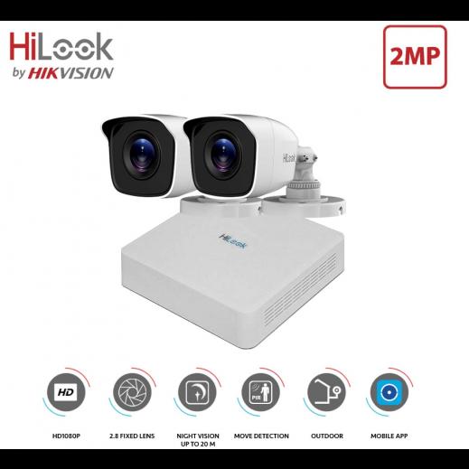 هاى لوك – مجموعة كاميرات (2 كاميرا 2 قناة) للمراقبة والتصوير عالي الدقة 2 ميجابكسل - ابيض