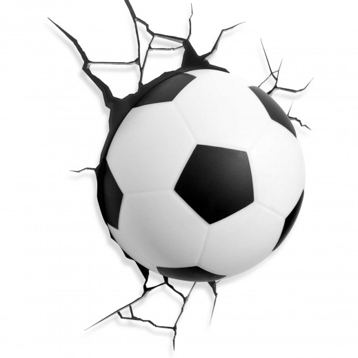 كرة قدم ديكور بضوء ثلاثي الأبعاد تعلق على الجدار