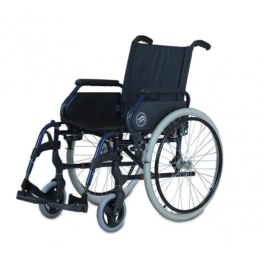 سن رايز - كرسي متحرك بريزي عريض من الستيل عرض 46 سم سعة 100 كجم - أزرق - يتم التوصيل بواسطة Al Essa Company