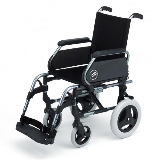 سن رايز - كرسي متحرك بريزي عريض من الستيل عرض 48 سم سعة 100 كجم - رمادي - يتم التوصيل بواسطة Al Essa Company