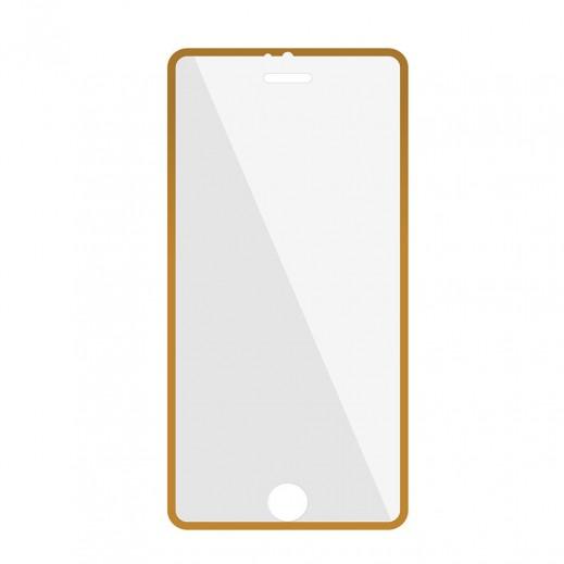 بروميت – فيلم حماية شاشة زجاجي مع مثبت لآي فون 6 Plus – إطار ذهبي
