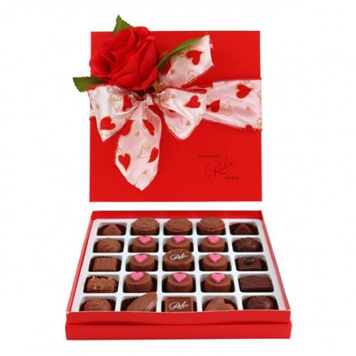 شوكولاتة رور- علبة شوكولاتة مميزة - أحمر 25 حبة  - يتم التوصيل بواسطة Chocolates Rohr Geneve