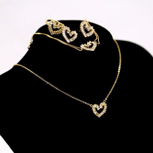 عنابي - طقم مجوهرات مطلي بالذهب 14 قيراط موديل بتصميم قلب GJWMGST004