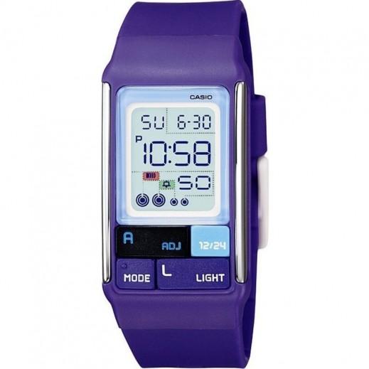 """كاسيو - ساعة يد """"بوبتون كاجوال"""" للأطفال رقمية  بسوار راتنج بنفسجي - يتم التوصيل بواسطة Veerup General Trading"""