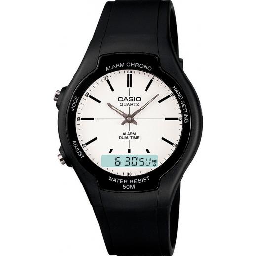 كاسيو - ساعة يد للشباب عقارب بسوار راتنج أسود   - يتم التوصيل بواسطة Veerup General Trading