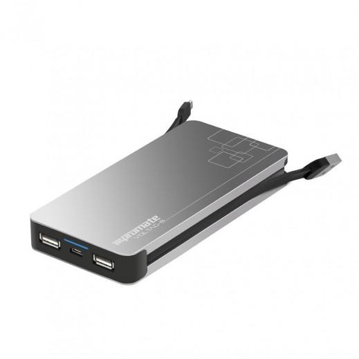 بروميت بطارية احتياطية معدن ممتاز سعة 8400 مللي امبير مع كيبل مايكرو USB مدمج و منفذان USB