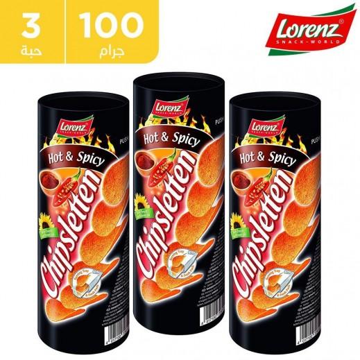 لورينز - رقائق بطاطا سبايسي حار 3 × 100 جم