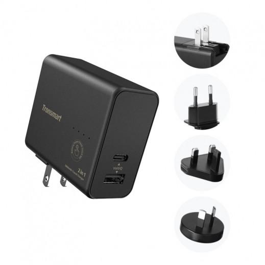 ترونسمارت – 2 في 1 شاحن كهربائي وبطارية احتياطية ثنائي USB بقوة 5000 مل أمبير – أسود