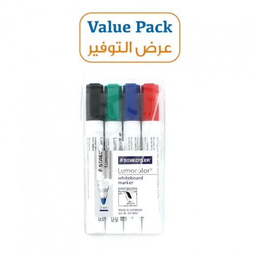 ستدلر – قلم تعليم للسبورة البيضاء – 4 ألوان متنوعة (6 حبة) – عرض التوفير