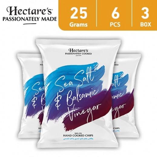 هيكترز - رقائق بطاطس بطعم الملح البحري والخل 25 جم (6 × 3)