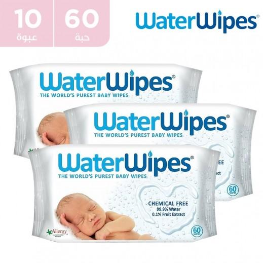 وتر وايبس - المناديل المبللة الطبيعية والخالية من المواد الكميائية للأطفال الحساسة 10 × 60 منديل