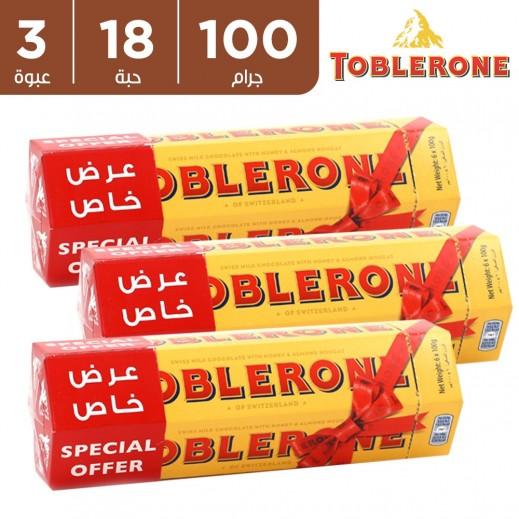 توبليرون شوكولاتة الحليب مع العسل واللوز 6 x 100 جم (3 عبوة)