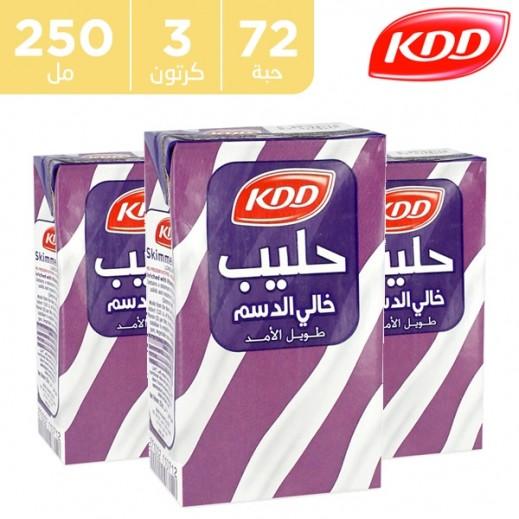 كى دى دى – حليب طويل الأمد خالي الدسم 250 مل ( 3 كرتون × 24 حبة )